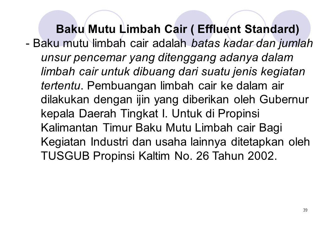 Baku Mutu Limbah Cair ( Effluent Standard)