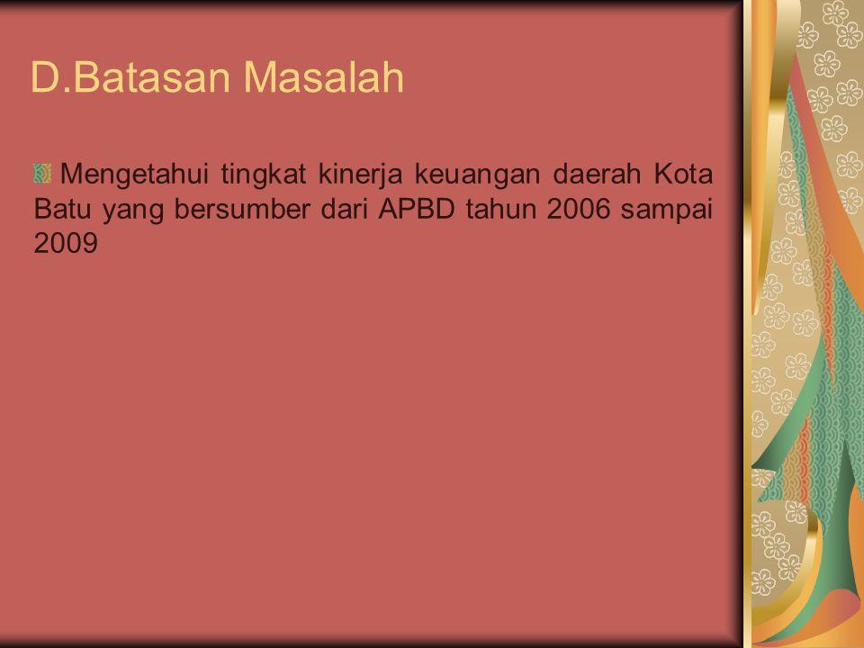 D.Batasan Masalah Mengetahui tingkat kinerja keuangan daerah Kota Batu yang bersumber dari APBD tahun 2006 sampai 2009.