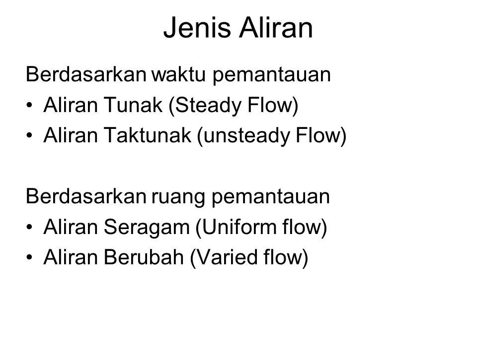 Jenis Aliran Berdasarkan waktu pemantauan Aliran Tunak (Steady Flow)