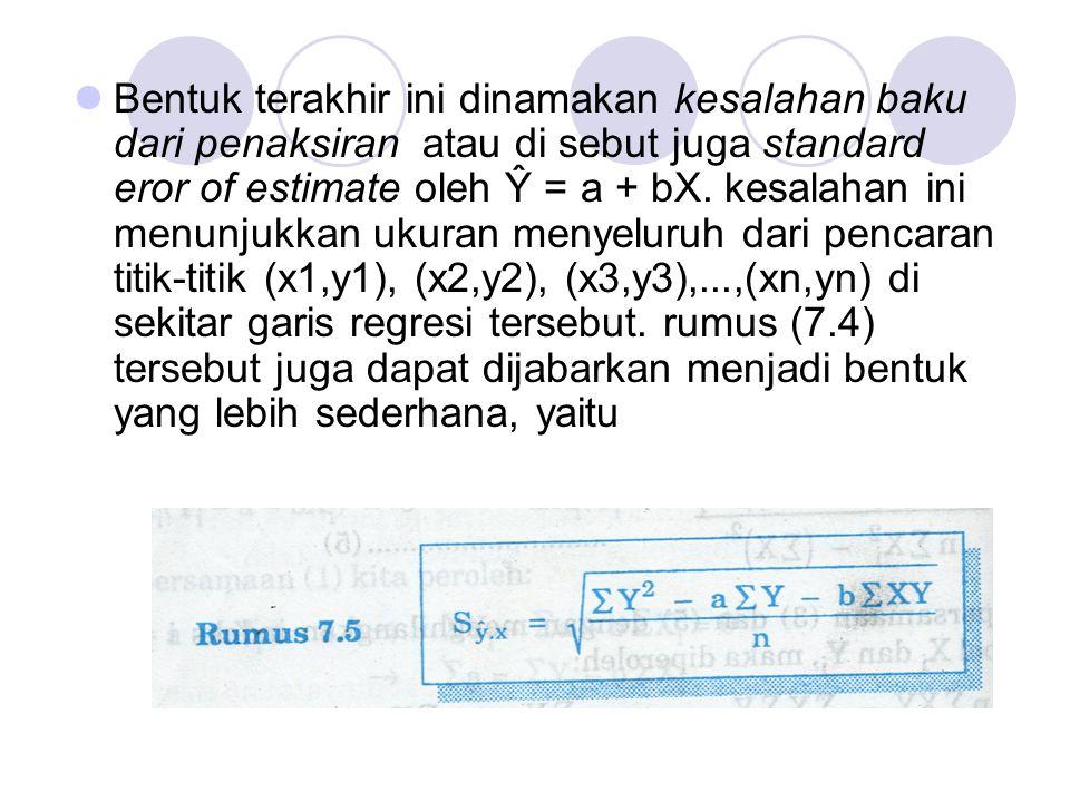 Bentuk terakhir ini dinamakan kesalahan baku dari penaksiran atau di sebut juga standard eror of estimate oleh Ŷ = a + bX.