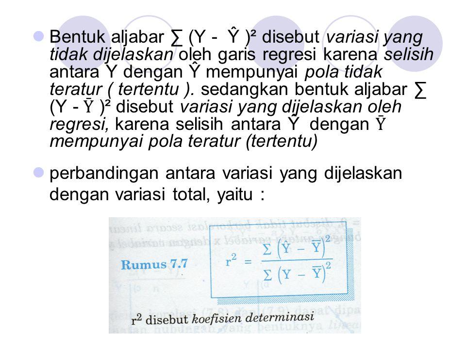 Bentuk aljabar ∑ (Y - Ŷ )² disebut variasi yang tidak dijelaskan oleh garis regresi karena selisih antara Y dengan Ŷ mempunyai pola tidak teratur ( tertentu ). sedangkan bentuk aljabar ∑ (Y - Ȳ )² disebut variasi yang dijelaskan oleh regresi, karena selisih antara Ŷ dengan Ȳ mempunyai pola teratur (tertentu)