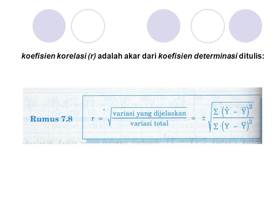 koefisien korelasi (r) adalah akar dari koefisien determinasi ditulis: