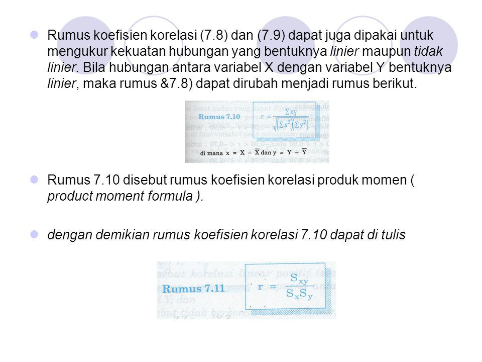 Rumus koefisien korelasi (7. 8) dan (7