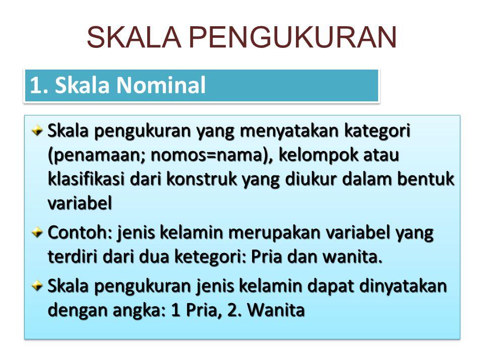SKALA PENGUKURAN 1. Skala Nominal