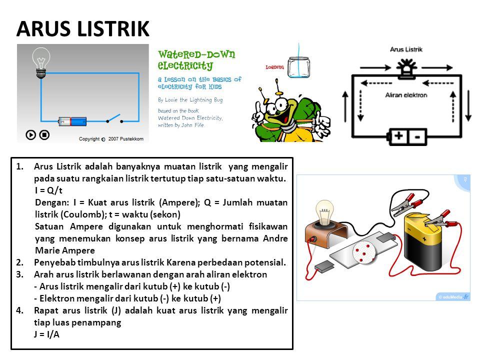 ARUS LISTRIK Arus Listrik adalah banyaknya muatan listrik yang mengalir pada suatu rangkaian listrik tertutup tiap satu-satuan waktu.