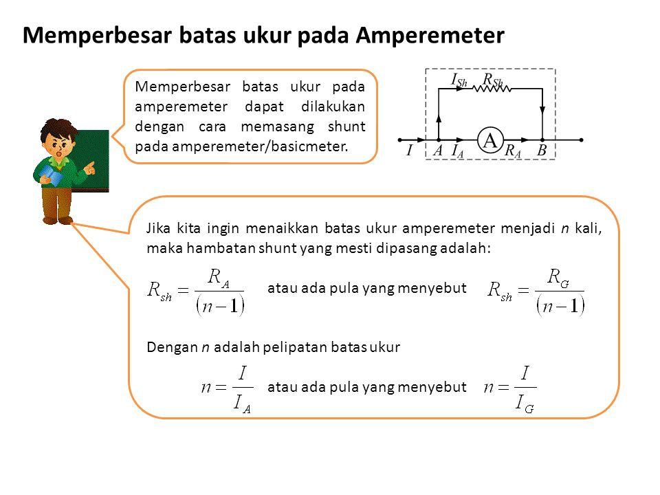 Memperbesar batas ukur pada Amperemeter