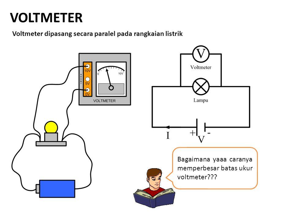 VOLTMETER Voltmeter dipasang secara paralel pada rangkaian listrik