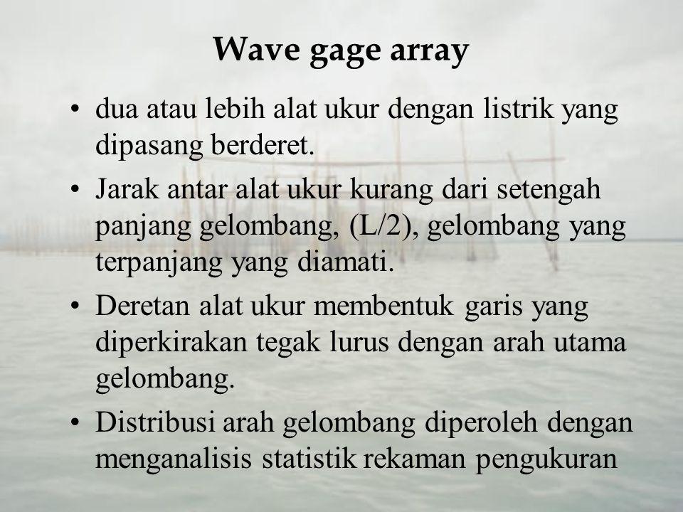 Wave gage array dua atau lebih alat ukur dengan listrik yang dipasang berderet.