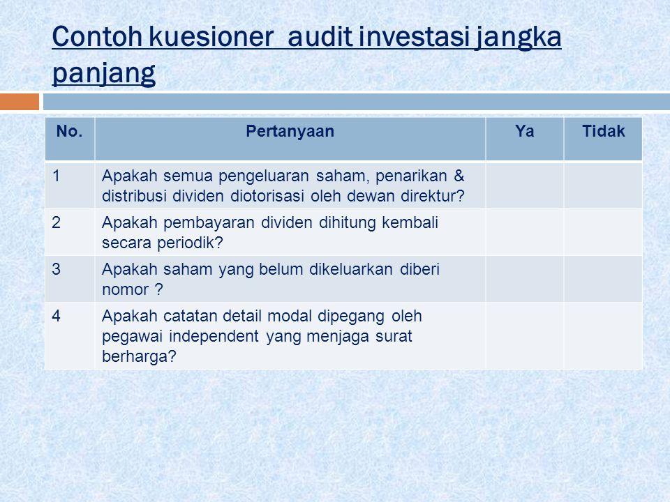 Contoh kuesioner audit investasi jangka panjang