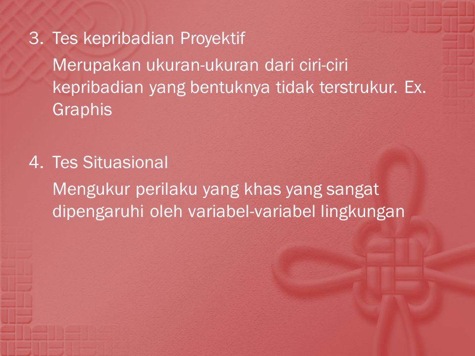 3. Tes kepribadian Proyektif