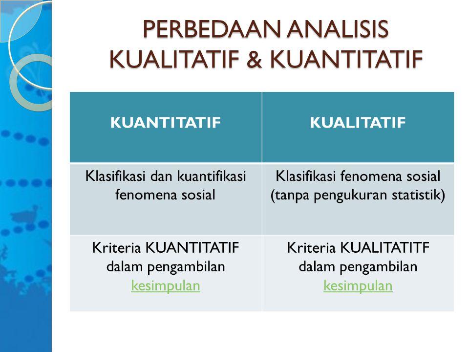 PERBEDAAN ANALISIS KUALITATIF & KUANTITATIF