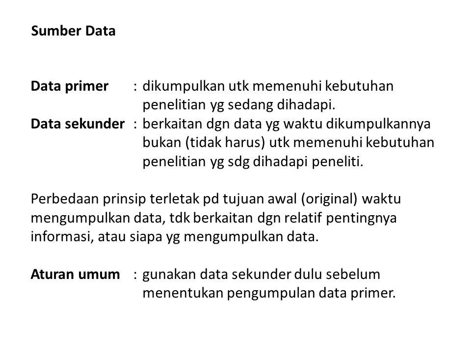 Sumber Data Data primer : dikumpulkan utk memenuhi kebutuhan penelitian yg sedang dihadapi.