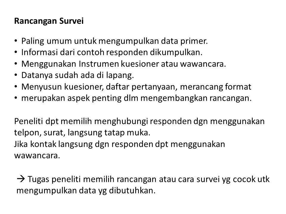 Rancangan Survei Paling umum untuk mengumpulkan data primer. Informasi dari contoh responden dikumpulkan.
