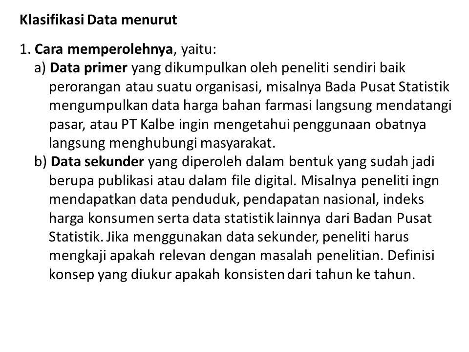 Klasifikasi Data menurut