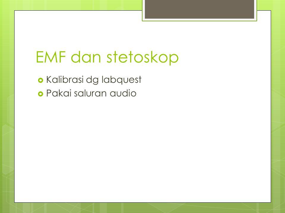 EMF dan stetoskop Kalibrasi dg labquest Pakai saluran audio