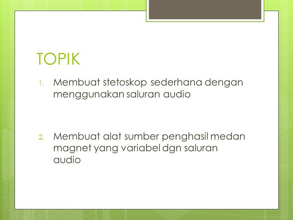 TOPIK Membuat stetoskop sederhana dengan menggunakan saluran audio