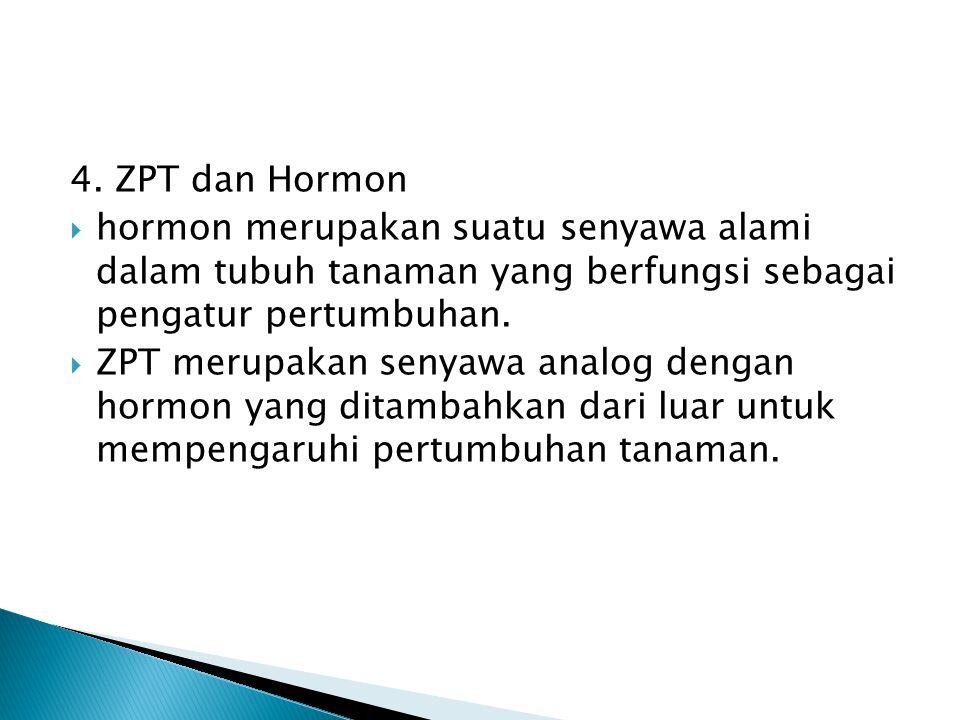 4. ZPT dan Hormon hormon merupakan suatu senyawa alami dalam tubuh tanaman yang berfungsi sebagai pengatur pertumbuhan.
