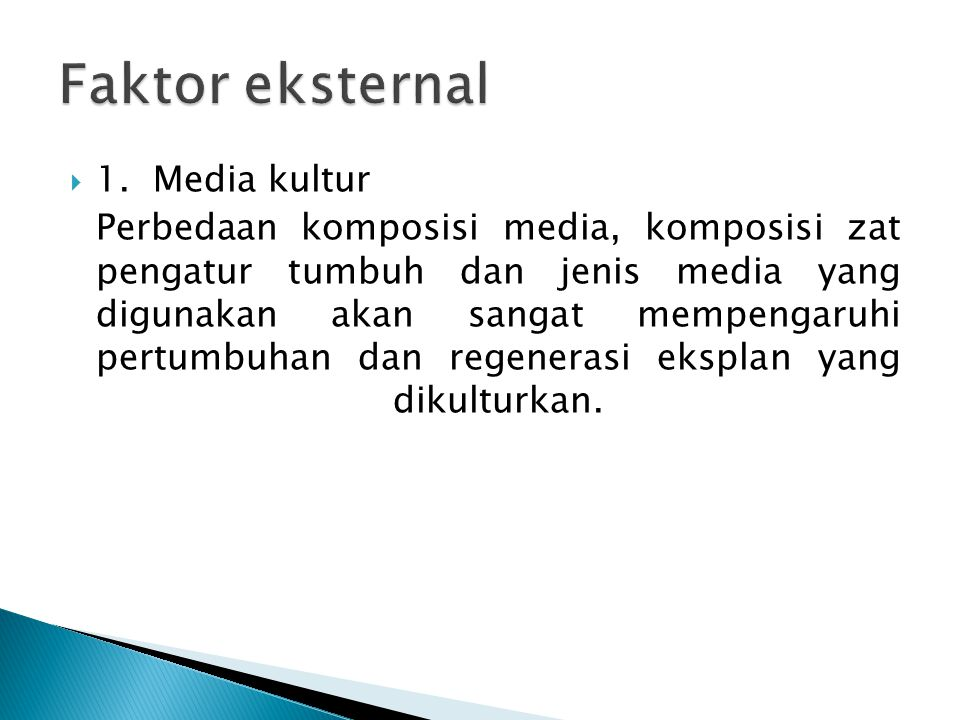 Faktor eksternal 1. Media kultur