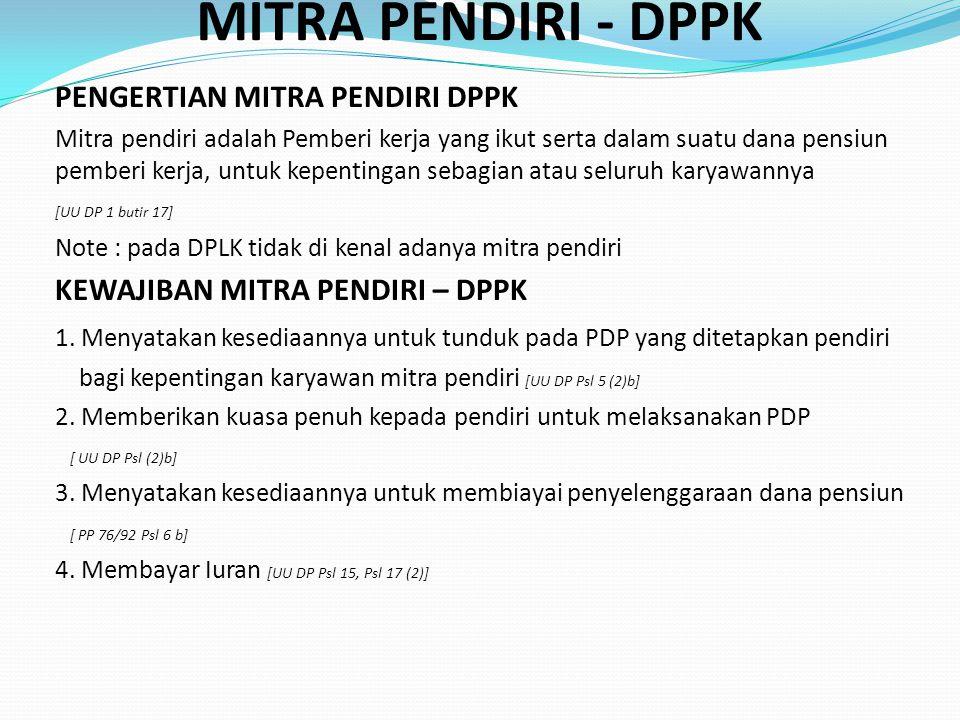 MITRA PENDIRI - DPPK PENGERTIAN MITRA PENDIRI DPPK