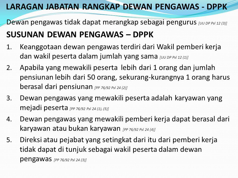 LARAGAN JABATAN RANGKAP DEWAN PENGAWAS - DPPK