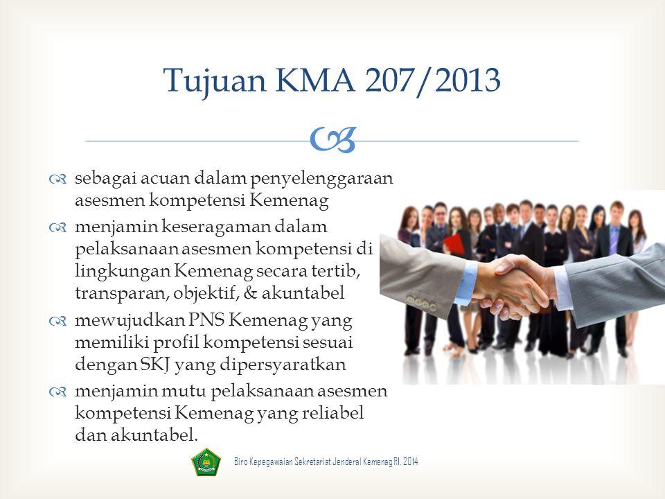 Tujuan KMA 207/2013 sebagai acuan dalam penyelenggaraan asesmen kompetensi Kemenag.