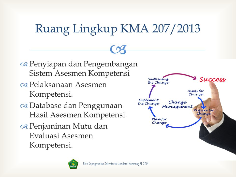 Ruang Lingkup KMA 207/2013 Penyiapan dan Pengembangan Sistem Asesmen Kompetensi. Pelaksanaan Asesmen Kompetensi.
