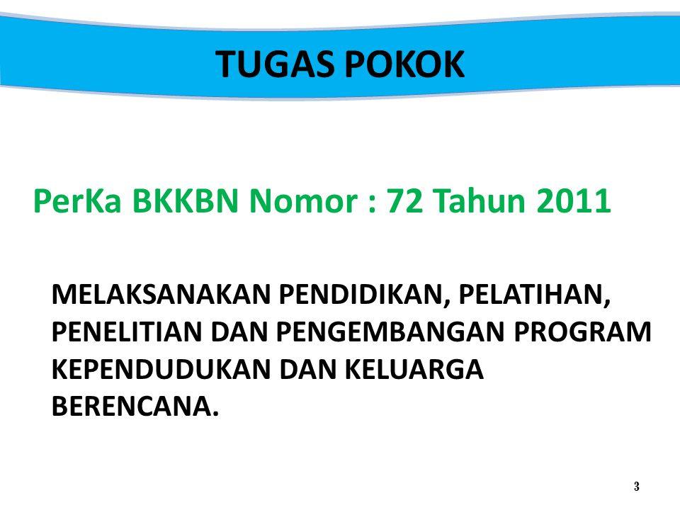 TUGAS POKOK PerKa BKKBN Nomor : 72 Tahun 2011