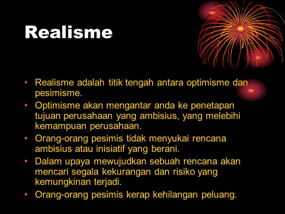 Realisme Realisme adalah titik tengah antara optimisme dan pesimisme.