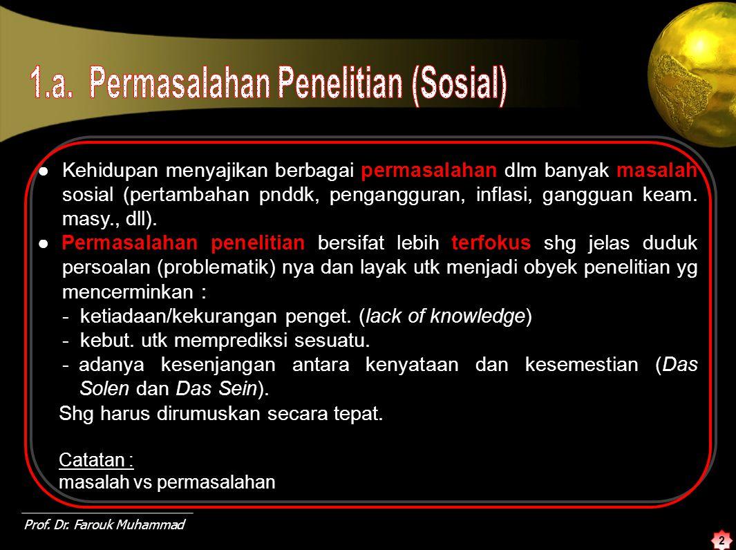 1.a. Permasalahan Penelitian (Sosial)