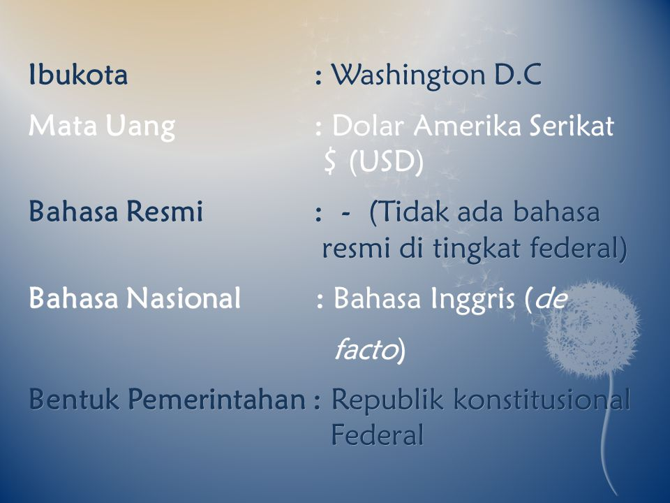 Ibukota : Washington D.C