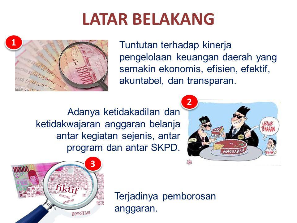 LATAR BELAKANG 1. Tuntutan terhadap kinerja pengelolaan keuangan daerah yang semakin ekonomis, efisien, efektif, akuntabel, dan transparan.
