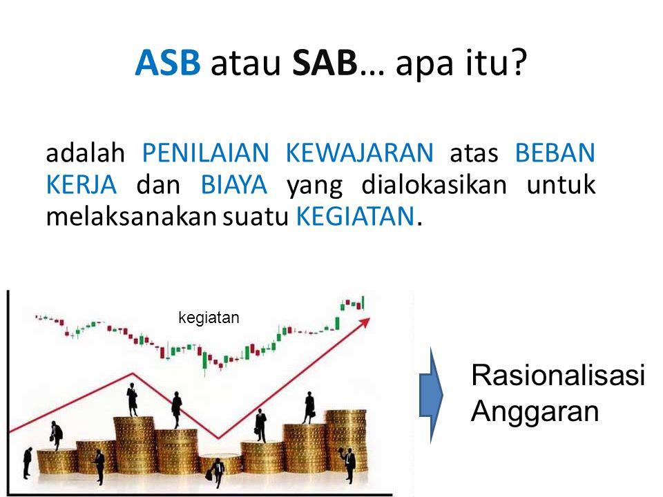 ASB atau SAB… apa itu adalah PENILAIAN KEWAJARAN atas BEBAN KERJA dan BIAYA yang dialokasikan untuk melaksanakan suatu KEGIATAN.