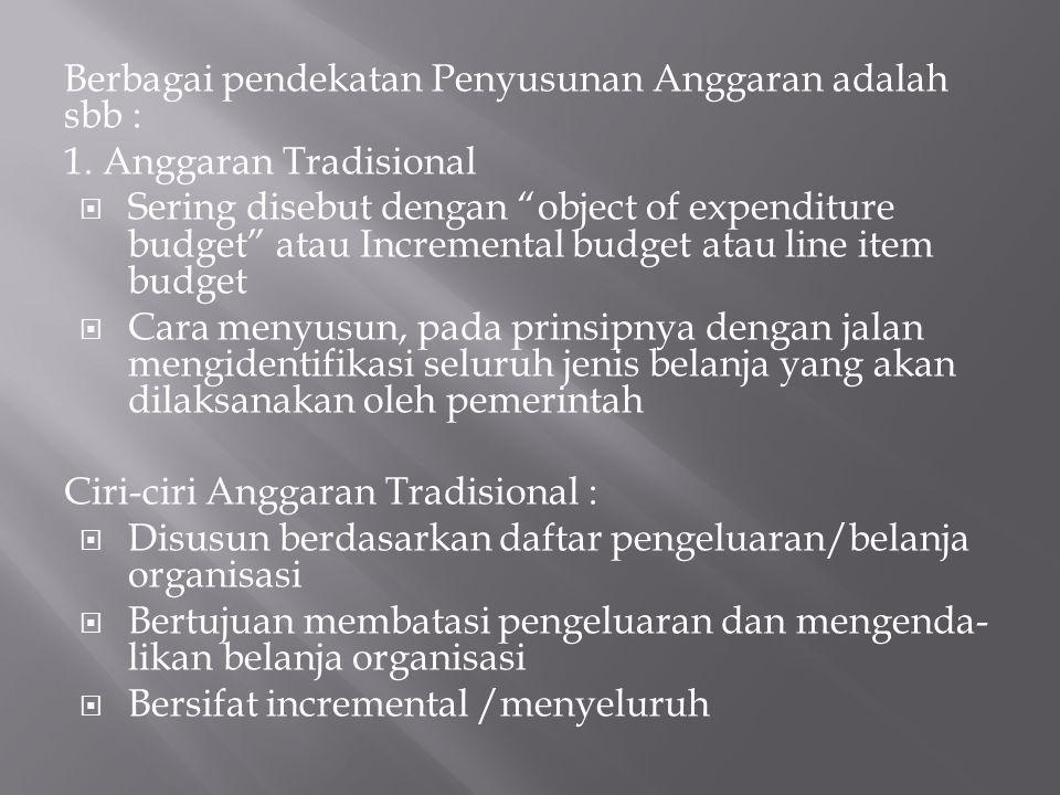 Berbagai pendekatan Penyusunan Anggaran adalah sbb :