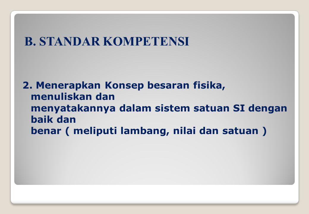 B. STANDAR KOMPETENSI 2. Menerapkan Konsep besaran fisika, menuliskan dan. menyatakannya dalam sistem satuan SI dengan baik dan.