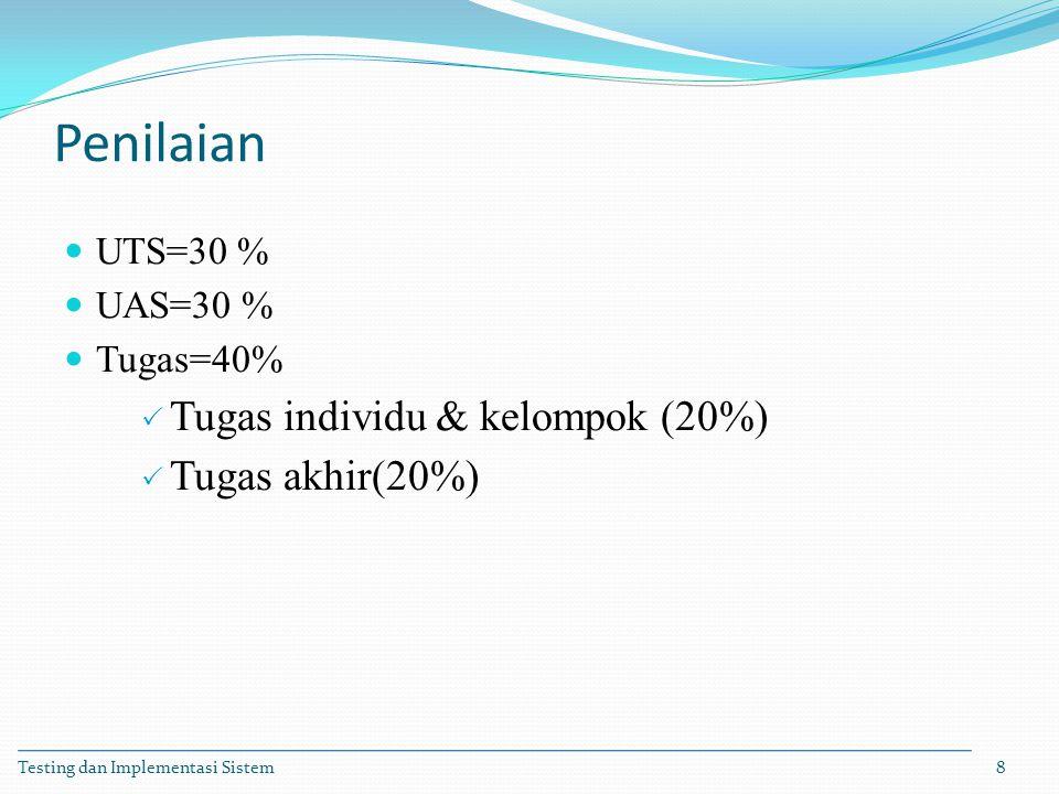 Penilaian Tugas individu & kelompok (20%) Tugas akhir(20%) UTS=30 %