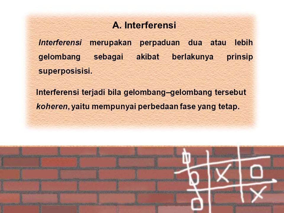 A. Interferensi Interferensi merupakan perpaduan dua atau lebih gelombang sebagai akibat berlakunya prinsip superposisisi.