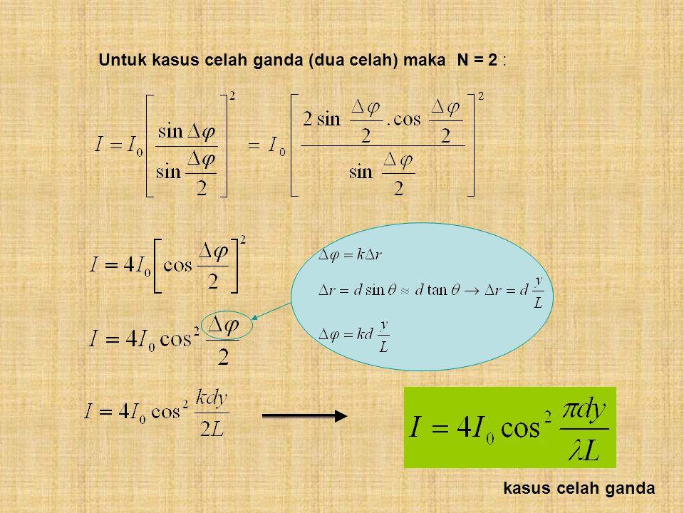 Untuk kasus celah ganda (dua celah) maka N = 2 :