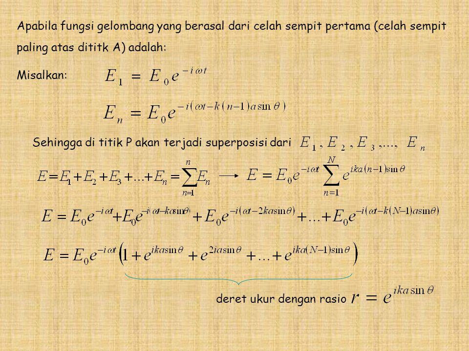 Apabila fungsi gelombang yang berasal dari celah sempit pertama (celah sempit paling atas dititk A) adalah: