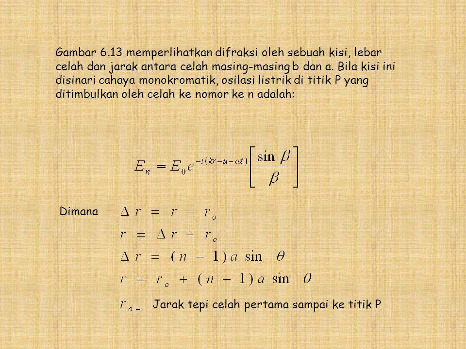 Gambar 6.13 memperlihatkan difraksi oleh sebuah kisi, lebar celah dan jarak antara celah masing-masing b dan a. Bila kisi ini disinari cahaya monokromatik, osilasi listrik di titik P yang ditimbulkan oleh celah ke nomor ke n adalah: