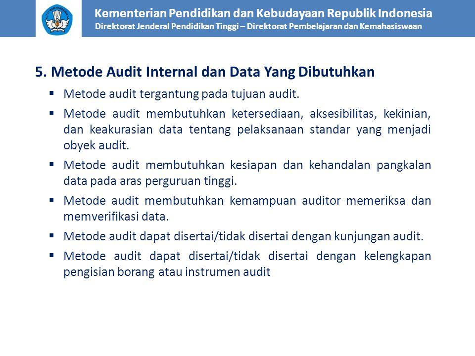 5. Metode Audit Internal dan Data Yang Dibutuhkan