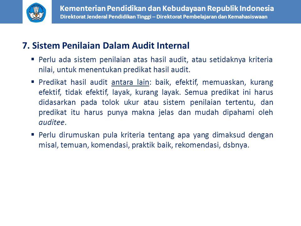 7. Sistem Penilaian Dalam Audit Internal