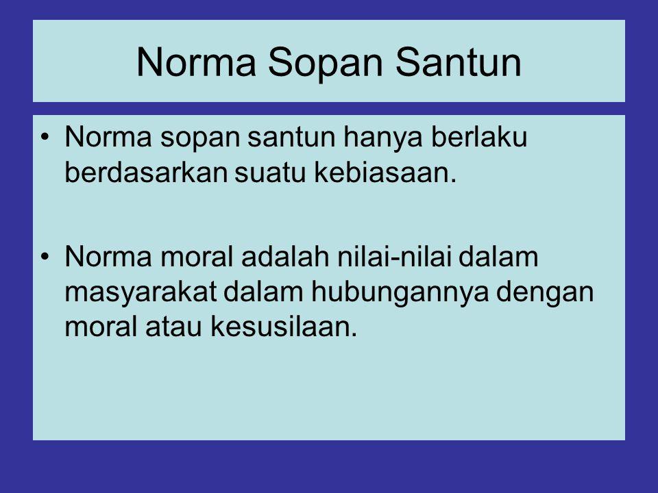 Norma Sopan Santun Norma sopan santun hanya berlaku berdasarkan suatu kebiasaan.