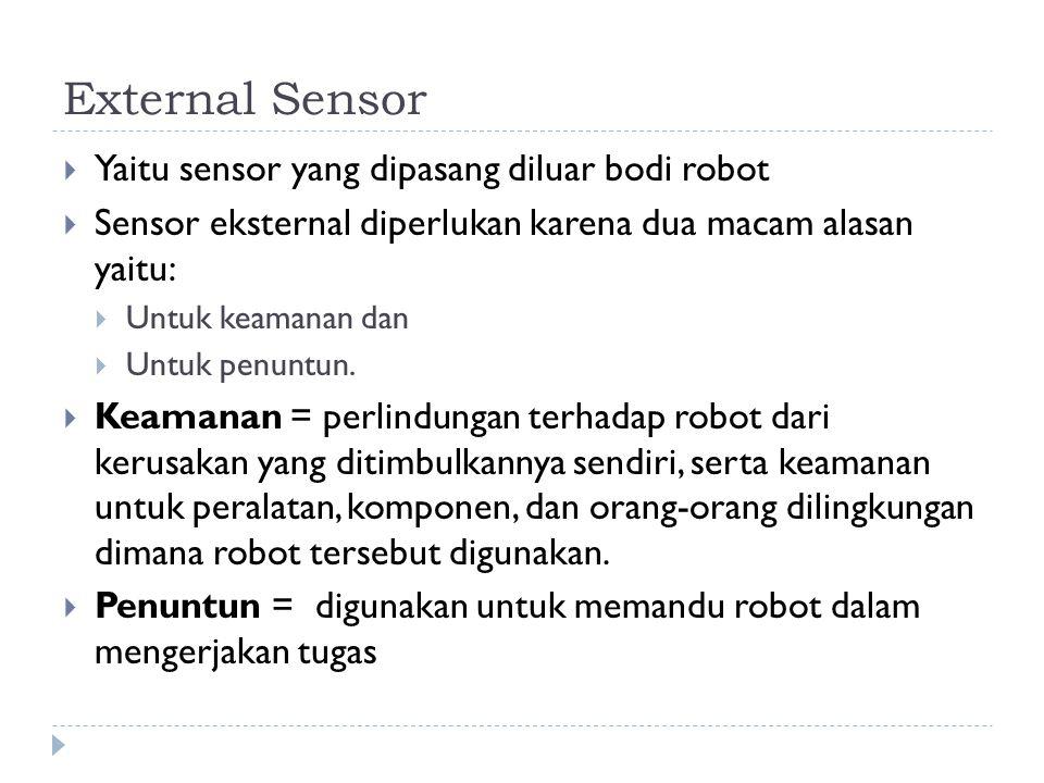 External Sensor Yaitu sensor yang dipasang diluar bodi robot