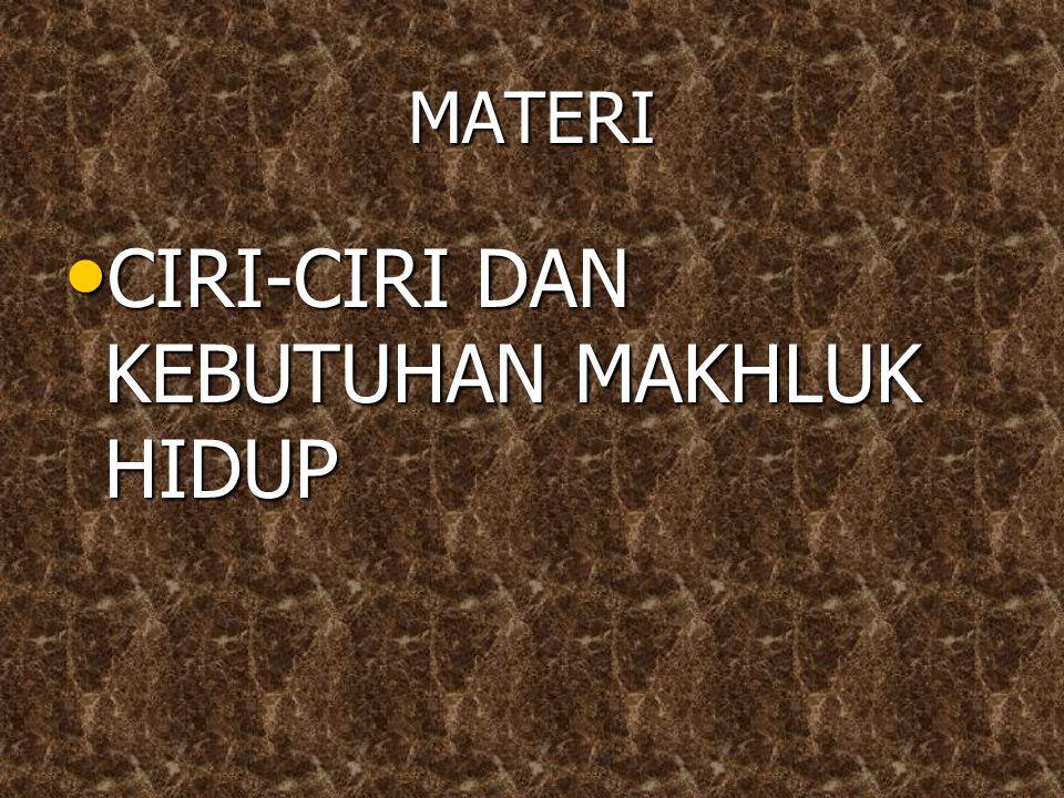 CIRI-CIRI DAN KEBUTUHAN MAKHLUK HIDUP