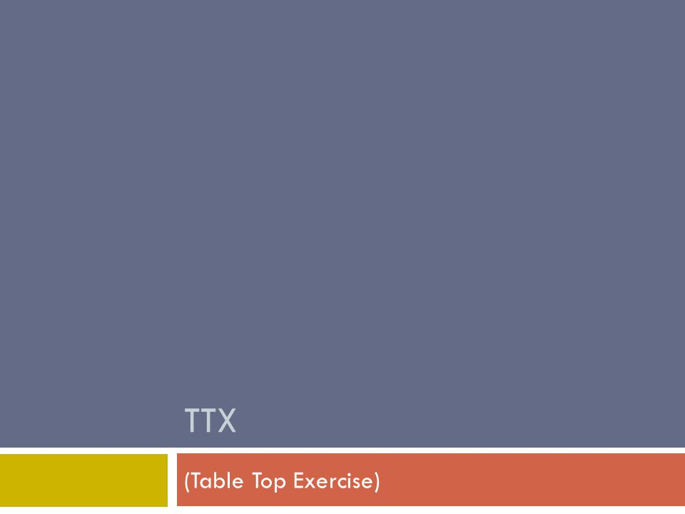 TTX (Table Top Exercise)