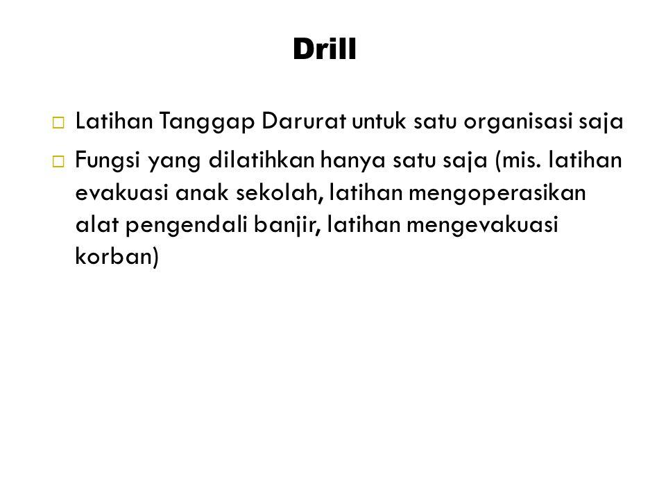 Drill Latihan Tanggap Darurat untuk satu organisasi saja