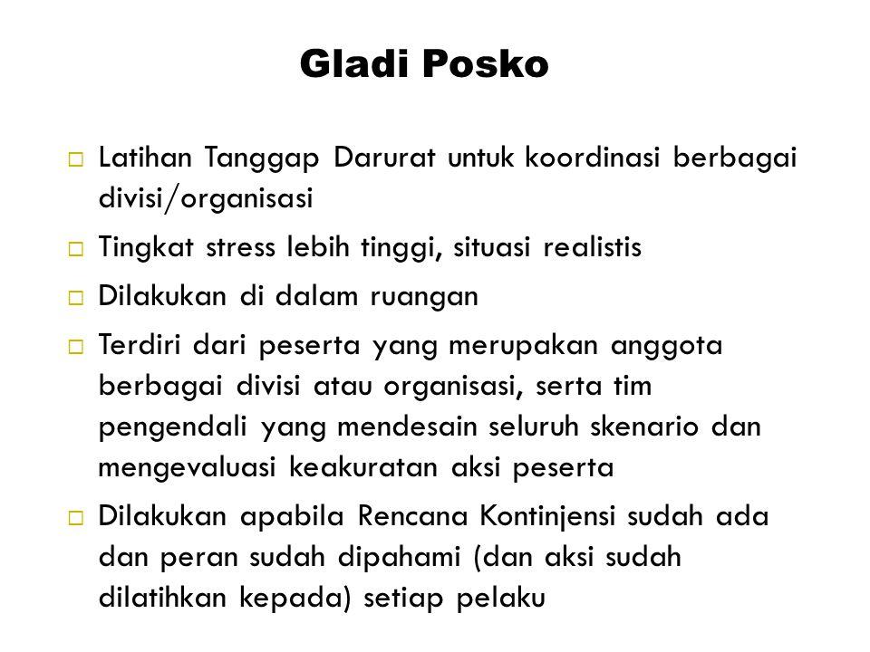 Gladi Posko Latihan Tanggap Darurat untuk koordinasi berbagai divisi/organisasi. Tingkat stress lebih tinggi, situasi realistis.