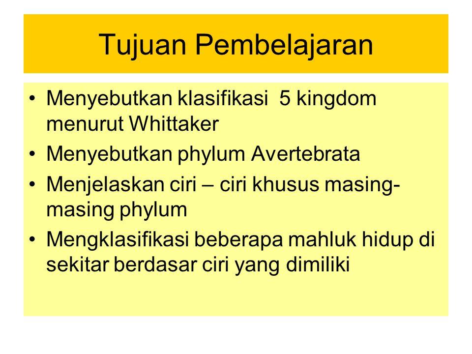 Tujuan Pembelajaran Menyebutkan klasifikasi 5 kingdom menurut Whittaker. Menyebutkan phylum Avertebrata.