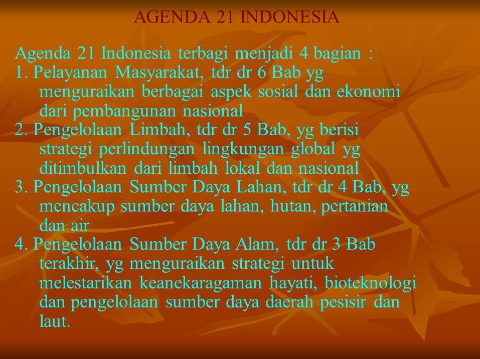 AGENDA 21 INDONESIA Agenda 21 Indonesia terbagi menjadi 4 bagian : 1. Pelayanan Masyarakat, tdr dr 6 Bab yg.