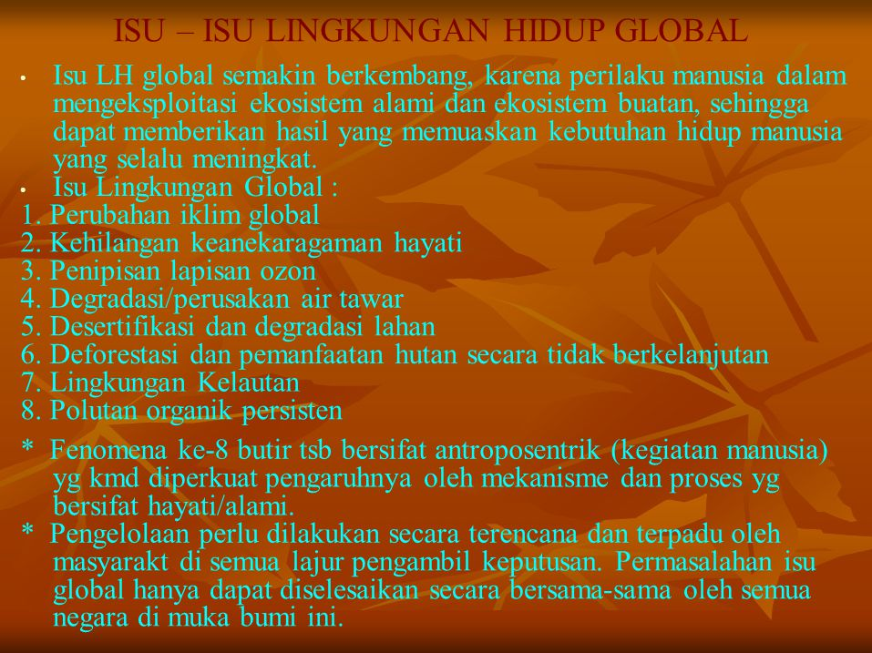 ISU – ISU LINGKUNGAN HIDUP GLOBAL